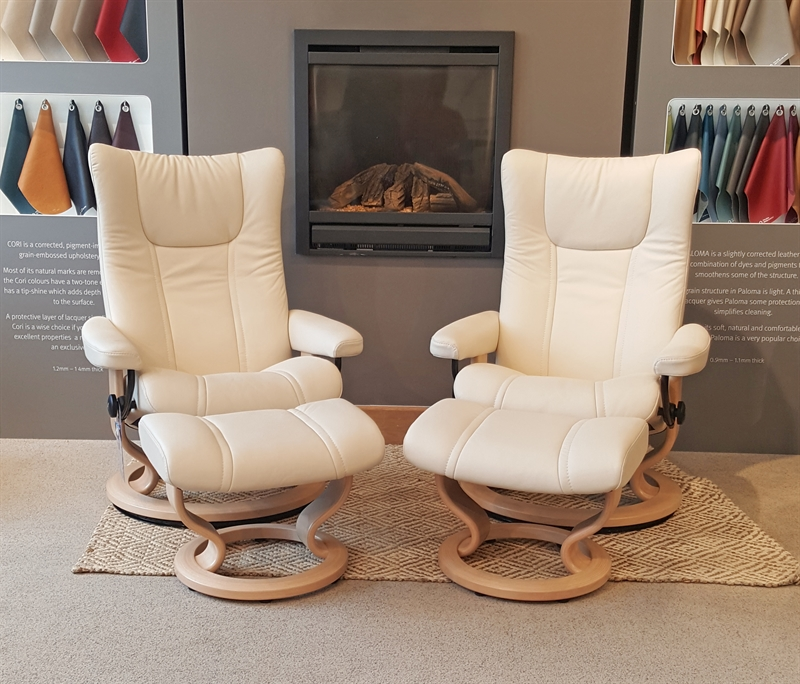 Stressless Wing Recliner with Footstool Pair