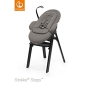 Stokke Steps Newborn Set - Black Oak Chair, Black Seat & Greige Newborn Attachment