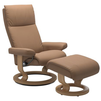 Stressless Aura Recliner with Footstool - Classic Base