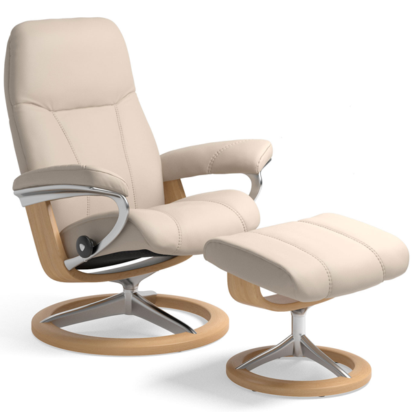 Stressless Consul with Footstool on Signature Base