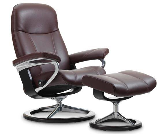 Stressless Consul Recliner with Footstool - Signature Base