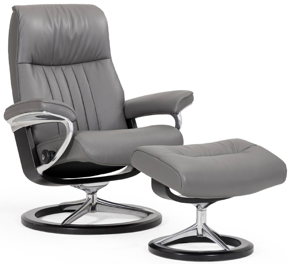 Stressless Crown Recliner with Footstool - Signature Base
