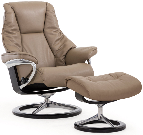 Stressless Live Recliner with Footstool - Signature Base