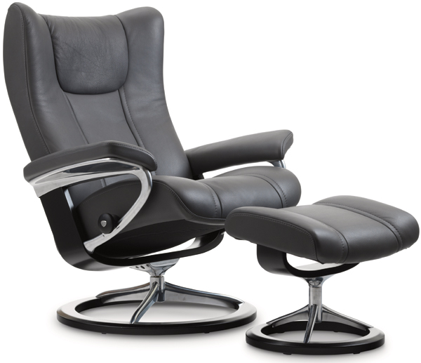 Stressless Wing Recliner with Footstool - Signature Base