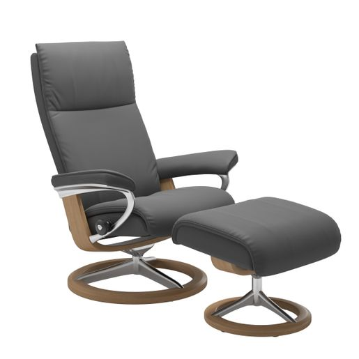 Stressless Aura Recliner with Footstool - Signature Base